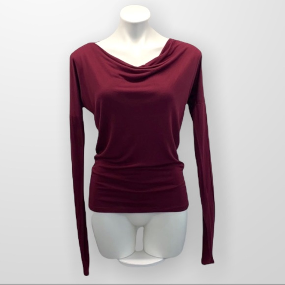 ARITZIA WILFRED Draped Cowl Neck Fitted Long Sleeve Tee Burgundy Size XS